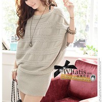 Free Size Hot Girl/Women Knitting Long Sleeves Beige Top@T602 - $14.35 : DressLoves.com.