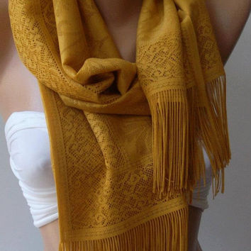 Dark Yellow -Elegance and Lace Shawl / Scarf Pareo