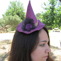 Witch Mini Halloween Hat Purple and Black