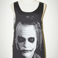 Joker Heath Ledger Charcoal Black And Military Print Camo Tank Top Singlet Sleeveless Art Punk Rock T-Shirt Size M