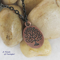 "Tibetan Red Copper Tree of Life Necklace on 18"" Black Chain"