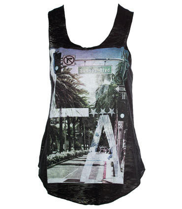Black Sunset Stripe Printed Vest - Clothing - desireclothing.co.uk