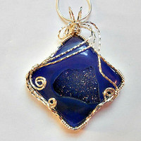 Wire Wrapped Pendant Blue Onyx Druzy Agate