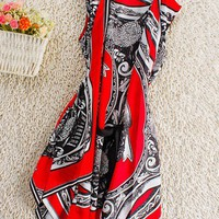 Red Vintage Round Neck Sleeveless Floral Silk Dress - Sheinside.com