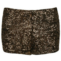 Golden Sequins Skinny Stretch Shorts - Sheinside.com