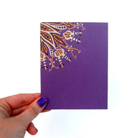 Purple & Gold Hand Drawn Note Card - Single Card - Envelope included