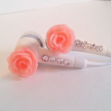 Petite Peach Rose Earbuds with Swarovski Crystals