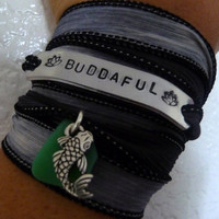 Buddhaful Silk Bracelet with Sea Glass and Koi Fish Charm Hand Stamped