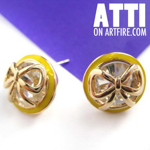 Small Round Rhinestone Bow Tie Ribbon Stud Earrings in Yellow and Gold