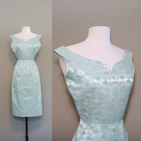vintage 1950s mint brocade wiggle dress SXS by BabesinVintageland