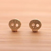 TINY SKULL stud earrings in gold  by bythecoco on Zibbet