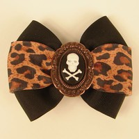 Graveside Looks | Black Leopard Death Hair Bow