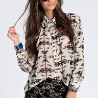 Native Dreamer Button Up Top - $36.00: ThreadSence, Women&#x27;s Indie &amp; Bohemian Clothing, Dresses, &amp; Accessories