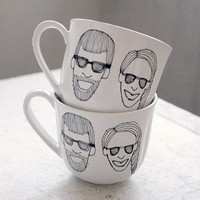 custom couple caricature and initials tea cups - black and white hand drawn portraits pair - set of two (2)