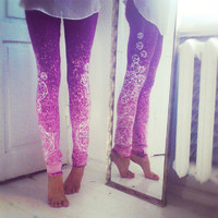 Purple leggings with white crystals