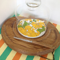 1970's Floral Cheese and Cracker Tray