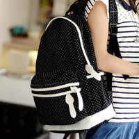 YESSTYLE: 59 Seconds- Contrast-Trim Polka-Dot Backpack (Black and White - One Size) - Free International Shipping on orders over $150