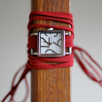 Red Suede Bracelet Watch with Small White by meggieslove on Etsy