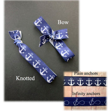 Handmade anchor elastic hair ties (ponytail holders) - bow or knotted - sets of 6 or 12 - can be combined with solid colors