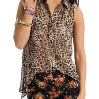 button-up-leopard-top BROWN - GoJane.com