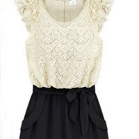 White Floral Lace Cap Sleeve Zip Back Bow Front Jumpsuit - Sheinside.com