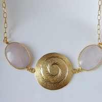 Oval shape of Pink Jade with Dome Charm Necklace