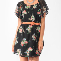 Ditsy Floral Print Blouson Dress