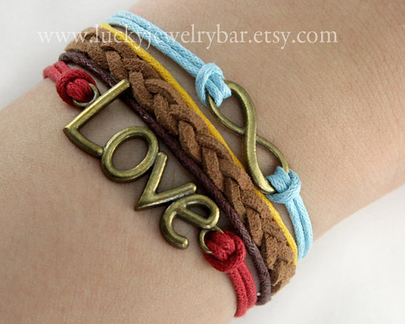 karma bracelet, infinity wish bracelet, love bracelet, braid leather bracelet,  SALE