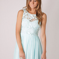 BACK IN STOCK tea party lace bodice cocktail dress- baby blue at Esther Boutique