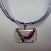 Purple Ribbon Watercolor painting pendant  Glass tile  necklace ribbons OOAK mauve, Abstract watercolorsNmore