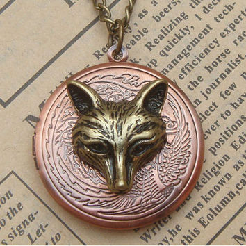 Steampunk Wolf Locket Necklace Vintage Style Original Design