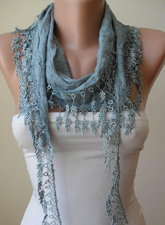 Blue Grey Cotton Scarf with Trim Edge - Summer Collection