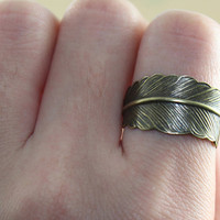 Handmade steampunk Antique Bronze feather adjustable ring