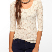Pins and Needles 3/4 Sleeve Lace Tee