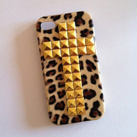 Cross Studded Leopard iPhone 4 4s Case