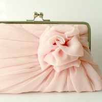 Dusty Pink Rose Clutch - Size Large - MADE TO ORDER - 1 more in this color