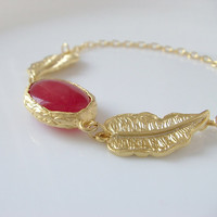 Gold Red Jade Charm Bracelet