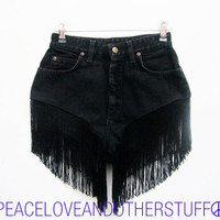 Re-worked Vintage Lee Black FLAPPER FRINGE High Waisted Shorts - Size 25&quot;W