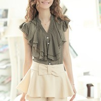 Women Chiffon  Multi-Layers Ruffled Collar Short Sleeve Army Green Top@MF9738ar