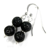 Black Lava Double Gemstone Beads With Sterling Silver And Daisy Bead