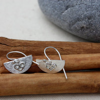 Heart on Half Moon Sterling Silver small Dangle Earrings. Little earrings. Sweet hearts. Filigree heart.