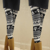 Imitation angora Kittens black and white stripes Leggings