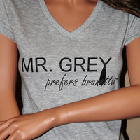 Mr. Grey Prefers Brunettes Athletic Heather FITTED V-Neck Shirt