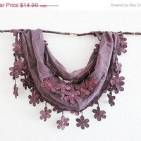 Summer Sale Purple Brown Elegant Sheer Cotton Lace Scarf Headband bandana Belt pareo Cowl Necklace Lariat Versatile
