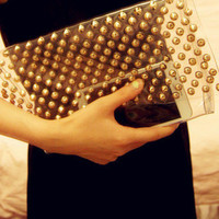 Chic Clear Purse with Gold Studs Detailing