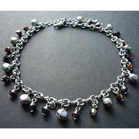 Chain Anklet Beads and Bells - Dark Rainbow
