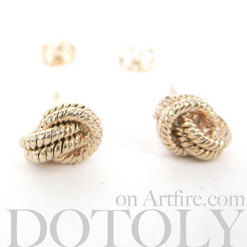 Small Textured Knot Rope Sailor Earrings in Light Gold