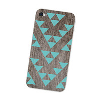 Wood Iphone Skin 4S - Gadget Decal for the Iphone 4 - Southwest Triangle Geometric Tribal Pattern in Turquoise Blue and Brown