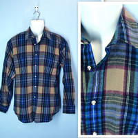 Vintage Mens Shirt / 80s Thick Acrylic Flannel Shirt Jacket