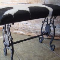 Vintage Rod Iron Cowhide Bench or Stool  Black an White Adorable